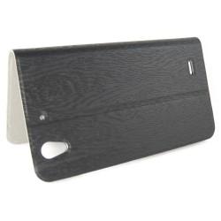 Funda Soporte Piel Texturizada Negra para Huawei Ascend G630