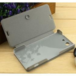 Funda Soporte Piel Texturizada Negra para Sony Xperia Z3 Compact