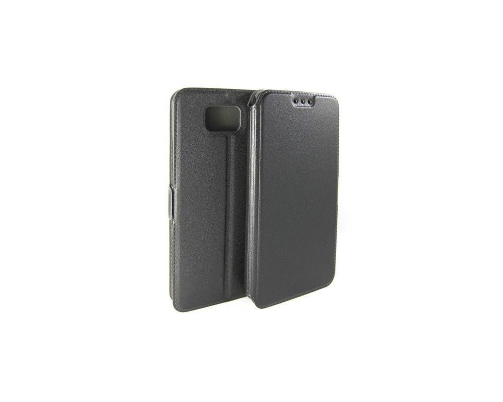 Funda Soporte Piel Negra para Samsung Galaxy Alpha G850F Flip Libro
