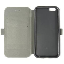 Funda Soporte Piel Negra para Iphone 6 Plus / 6S Plus Flip Libro