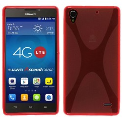 Funda Gel Tpu Huawei Ascend G620S X Line Color Roja