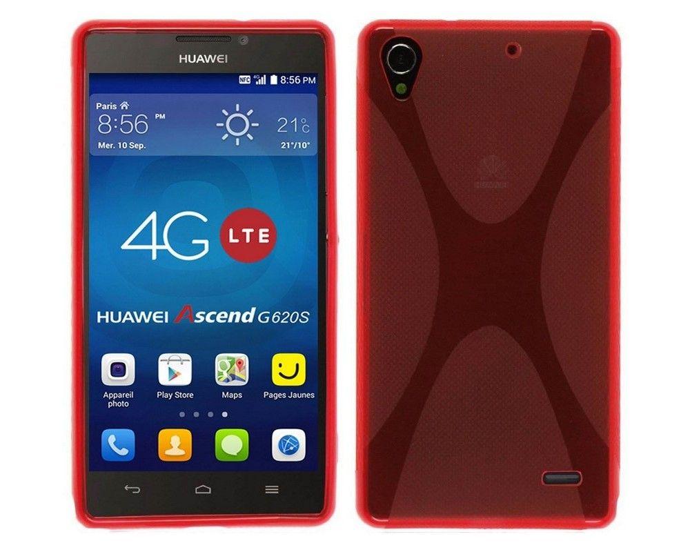 Funda Gel Tpu Huawei Ascend G620S X Line Color Roja