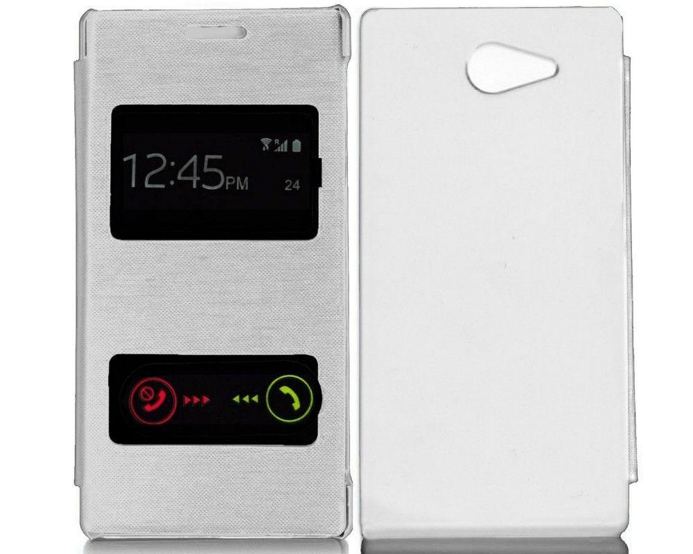 Funda Flip Cover S-View Sony Xperia M2 Color Blanca