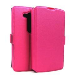 Funda Soporte Piel Rosa para Lg L Fino D290N Flip Libro