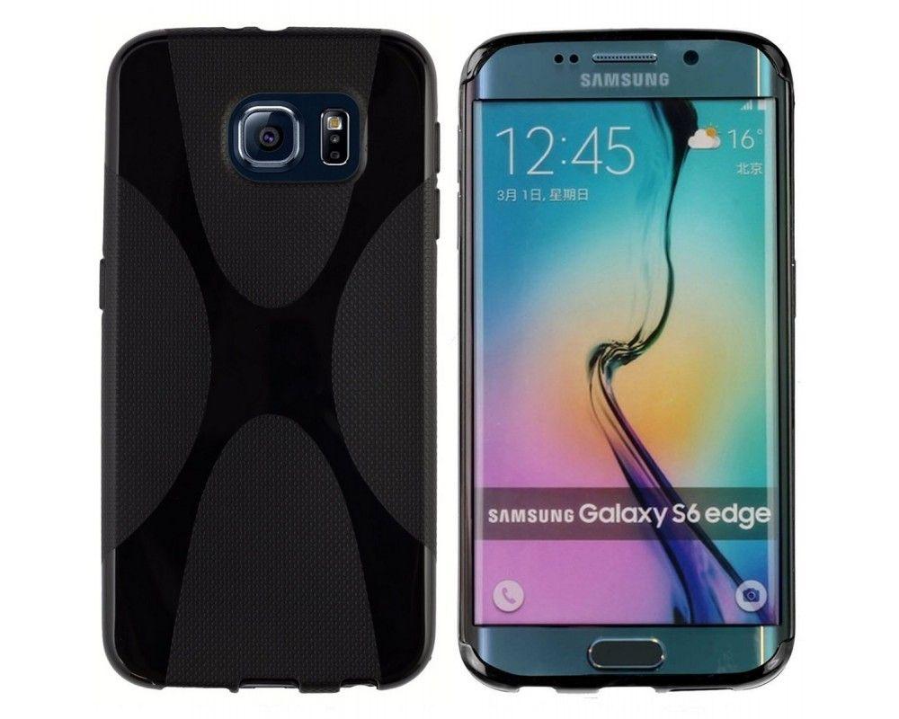 Funda Gel Tpu Samsung Galaxy S6 Edge G925F X Line Color Negra