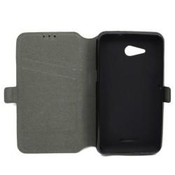Funda Soporte Piel Negra para Sony Xperia E4G Flip Libro