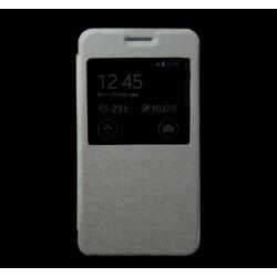 Funda Flip Con Ventana Piel para Samsung Galaxy J1 J100H Color Blanca