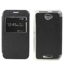 Funda Flip Con Ventana Piel para Sony Xperia E4 Color Negra