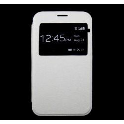 Funda Flip Con Ventana Piel para Sony Xperia E4 Color Blanca