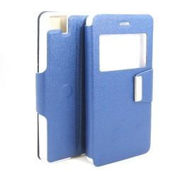 Funda Soporte Piel Azul Con Ventana para Bq Aquaris M5 Flip Libro