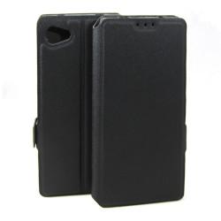 Funda Soporte Piel Negra para Sony Xperia Z5 Compact Flip Libro