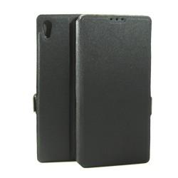 Funda Soporte Piel Negra para Sony Xperia Z5 Premium Flip Libro