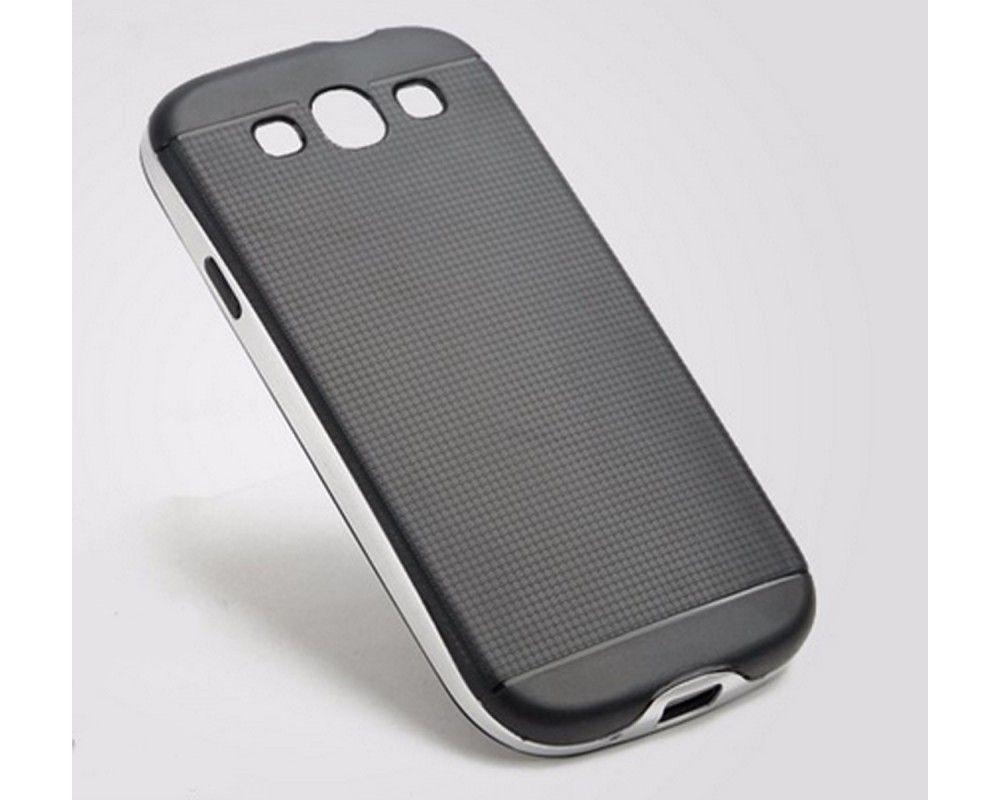 Funda Tipo Neo Hybrid (Pc+Tpu) Negra / Plata para Samsung Galaxy S3 I9300 / S3 Neo I930