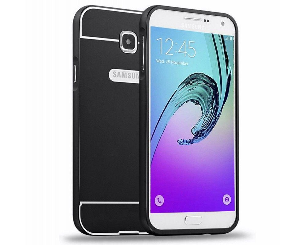 Funda Bumper Negra Aluminio + Tapa Trasera para Samsung Galaxy A3 (2016)