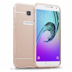 Funda Bumper Dorada Aluminio + Tapa Trasera para Samsung Galaxy A3 (2016)
