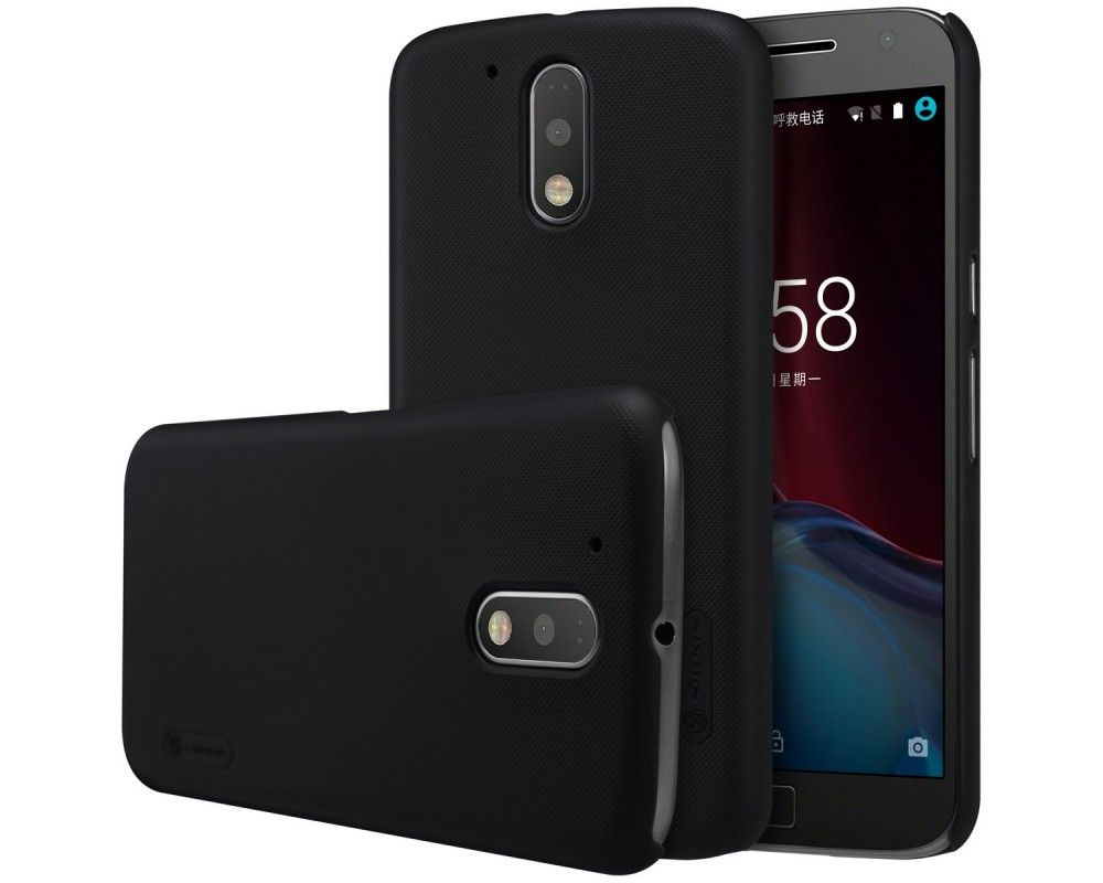 Carcasa Funda Nillkin Modelo Frosted + Protector para Motorola Moto G4 / G4 Plus Color Negra
