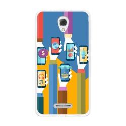 Funda Gel Tpu para Alcatel Pop 4+ Plus Diseño Apps Dibujos