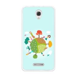Funda Gel Tpu para Alcatel Pop 4+ Plus Diseño Familia Dibujos