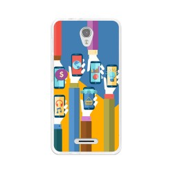 Funda Gel Tpu para Alcatel Pop 4  Diseño Apps Dibujos