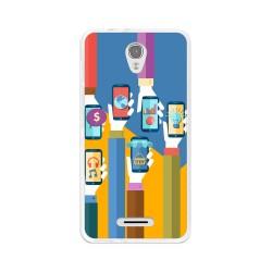Funda Gel Tpu para Alcatel Pop 4  Diseño Apps Dibujos