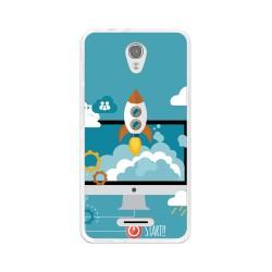 Funda Gel Tpu para Alcatel Pop 4 Diseño Cohete Dibujos