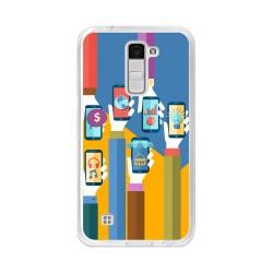Funda Gel Tpu para Lg K10 Diseño Apps Dibujos