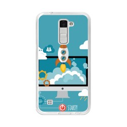 Funda Gel Tpu para Lg K10 Diseño Cohete Dibujos
