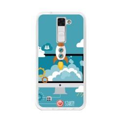 Funda Gel Tpu para Lg K8 Diseño Cohete Dibujos