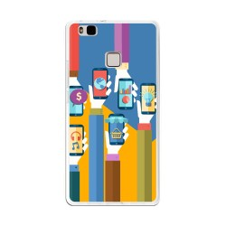 Funda Gel Tpu para Huawei P9 Lite Diseño Apps Dibujos