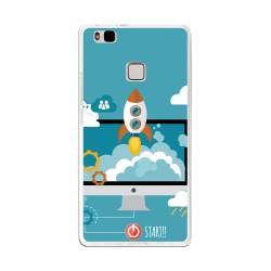 Funda Gel Tpu para Huawei P9 Lite Diseño Cohete Dibujos