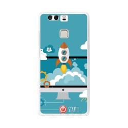 Funda Gel Tpu para Huawei P9  Diseño Cohete Dibujos