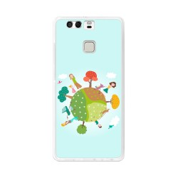 Funda Gel Tpu para Huawei P9 Diseño Familia Dibujos