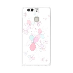 Funda Gel Tpu para Huawei P9  Diseño Flores-Minimal Dibujos