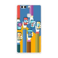 Funda Gel Tpu para Huawei P9 Plus Diseño Apps Dibujos
