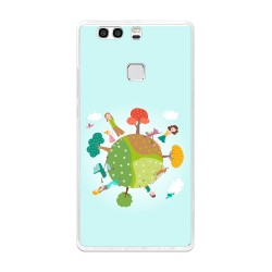 Funda Gel Tpu para Huawei P9 Plus Diseño Familia Dibujos