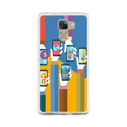 Funda Gel Tpu para Huawei Honor 7 Diseño Apps Dibujos