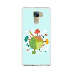 Funda Gel Tpu para Huawei Honor 7 Diseño Familia Dibujos