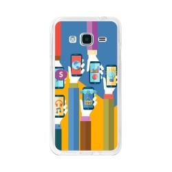 Funda Gel Tpu para Samsung Galaxy J3 (2016) Diseño Apps Dibujos