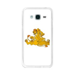 Funda Gel Tpu para Samsung Galaxy J3 (2016) Diseño Leones Dibujos