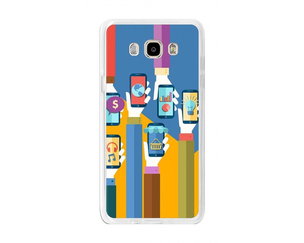 Funda Gel Tpu para Samsung Galaxy J7 (2016) Diseño Apps Dibujos