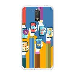 Funda Gel Tpu para Motorola Moto G4 / G4 Plus Diseño Apps Dibujos
