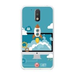 Funda Gel Tpu para Motorola Moto G4 / G4 Plus Diseño Cohete Dibujos Dibujos