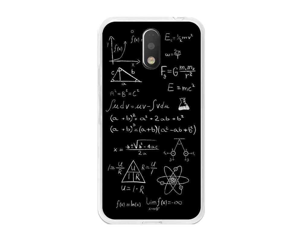 Funda Gel Tpu para Motorola Moto G4 / G4 Plus Diseño Formulas Dibujos