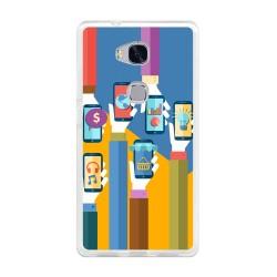 Funda Gel Tpu para Huawei Honor 5X Diseño Apps Dibujos
