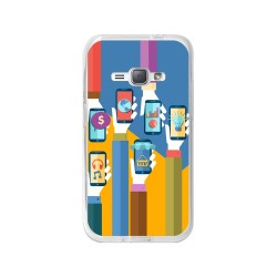 Funda Gel Tpu para Samsung Galaxy J1 (2016) Diseño Apps Dibujos