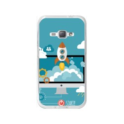 Funda Gel Tpu para Samsung Galaxy J1 (2016) Diseño Cohete Dibujos