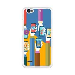 Funda Gel Tpu para Zte Blade V7 Lite Diseño Apps Dibujos