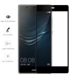 Protector Cristal Templado Frontal Completo Negro para Huawei P9 Vidrio