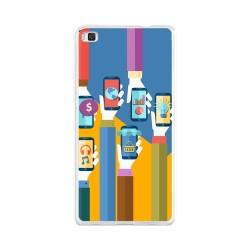 Funda Gel Tpu para Huawei P8 Lite Diseño Apps Dibujos