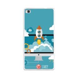 Funda Gel Tpu para Huawei P8 Lite Diseño Cohete Dibujos
